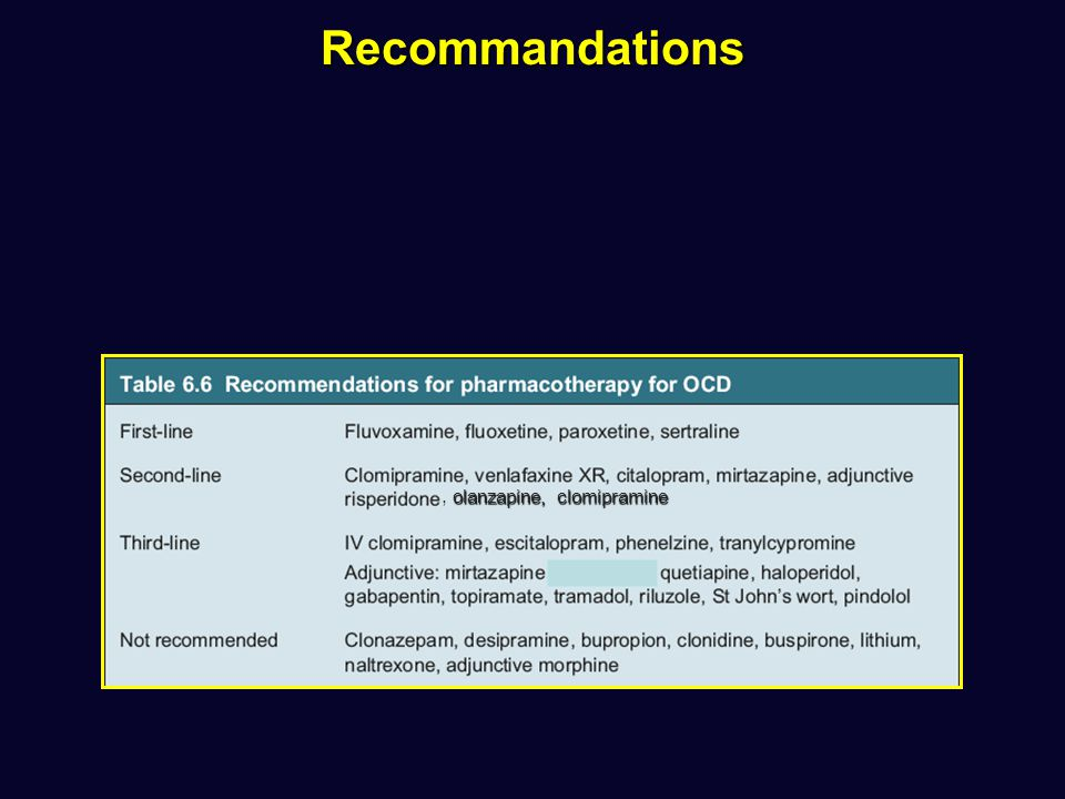 Recommandations , olanzapine, clomipramine