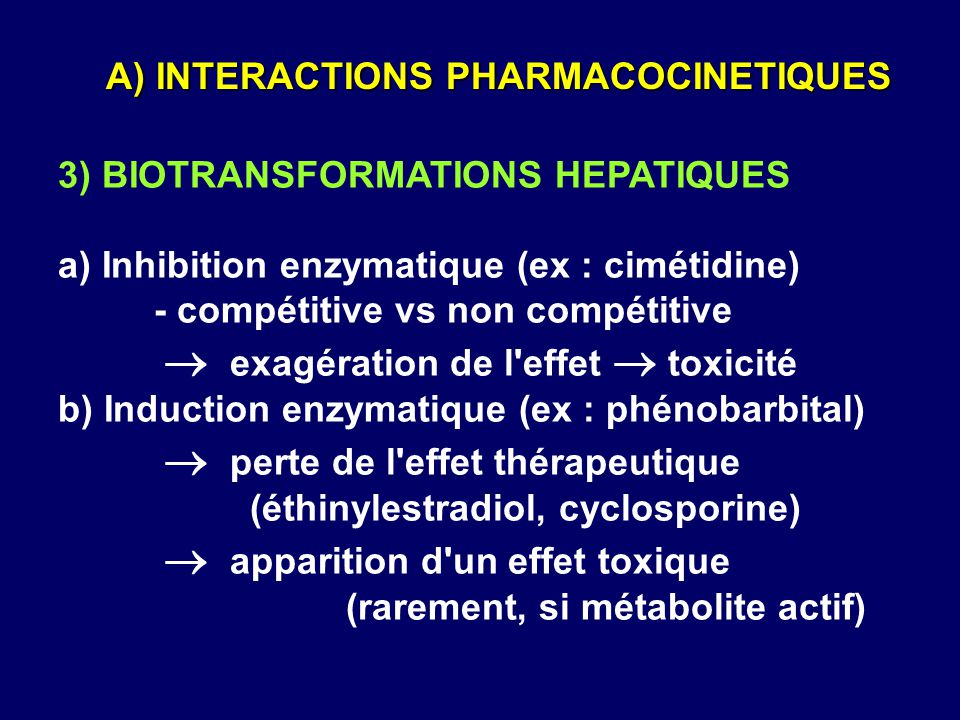 A) INTERACTIONS PHARMACOCINETIQUES