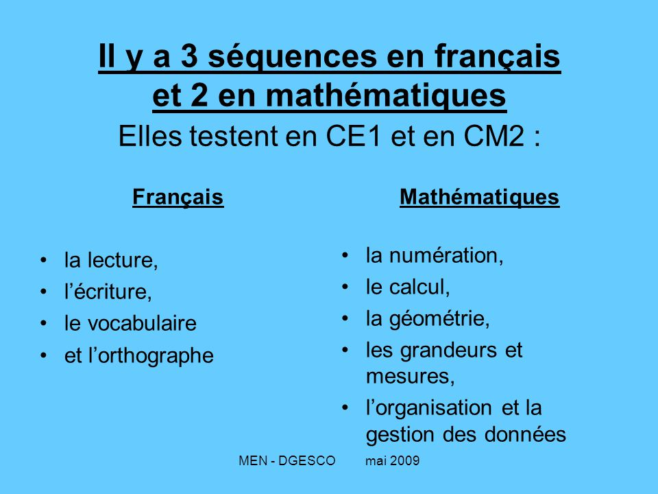 Il y a 3 séquences en français et 2 en mathématiques Elles testent en CE1 et en CM2 :