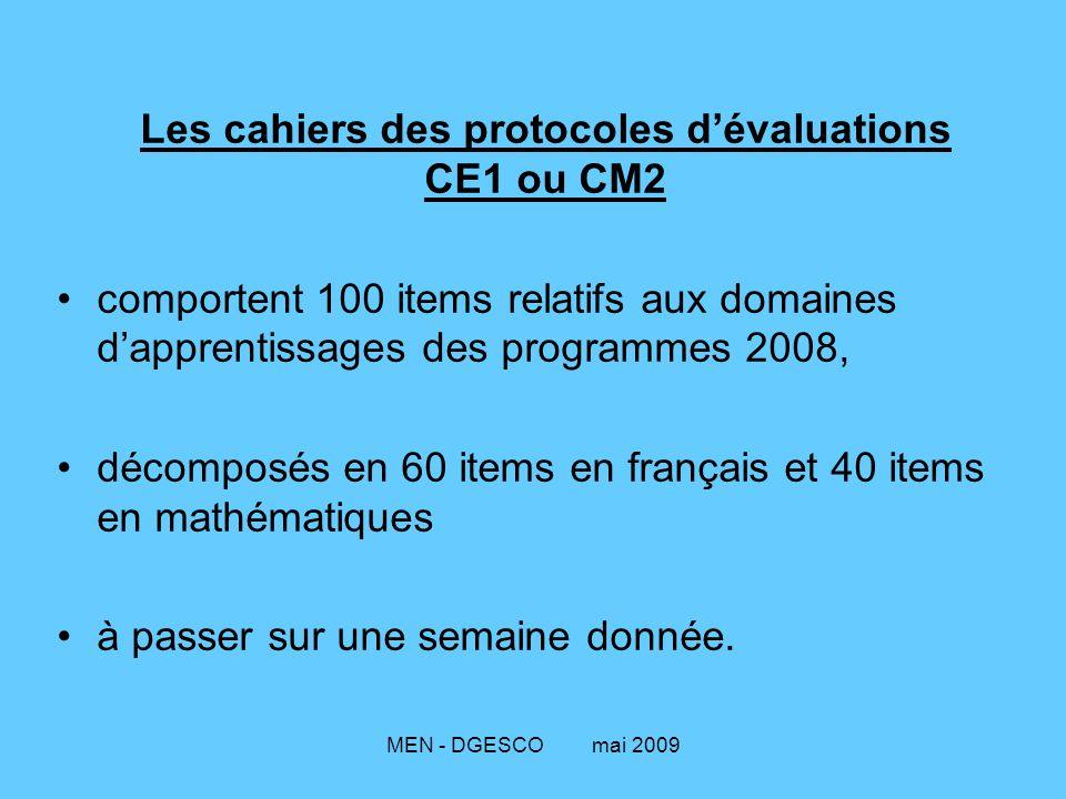 Les cahiers des protocoles d'évaluations CE1 ou CM2
