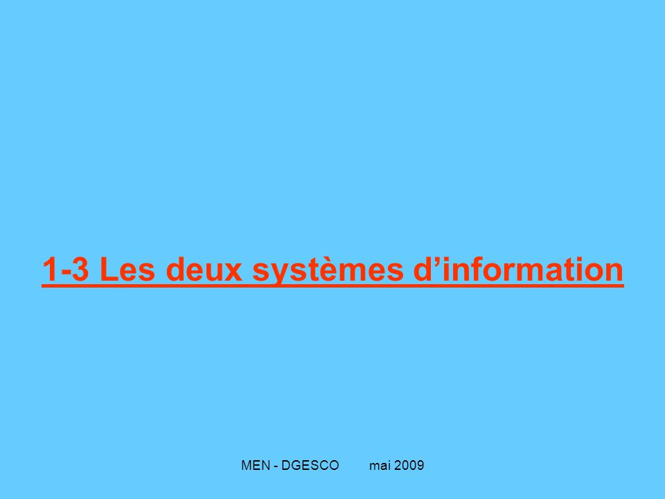 1-3 Les deux systèmes d'information