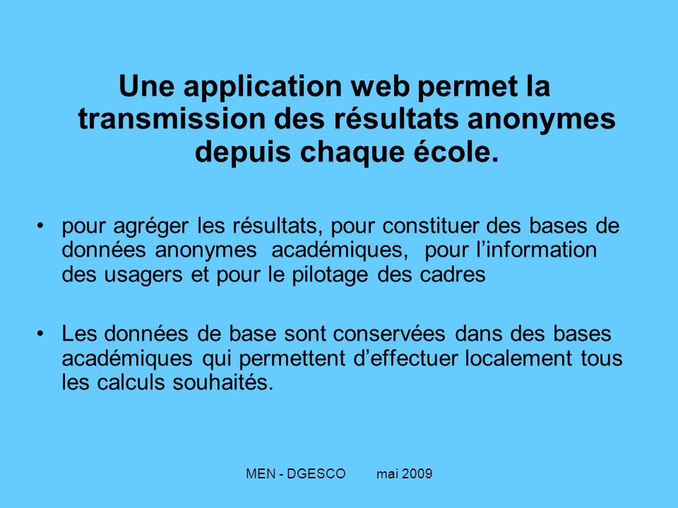 Une application web permet la transmission des résultats anonymes depuis chaque école.