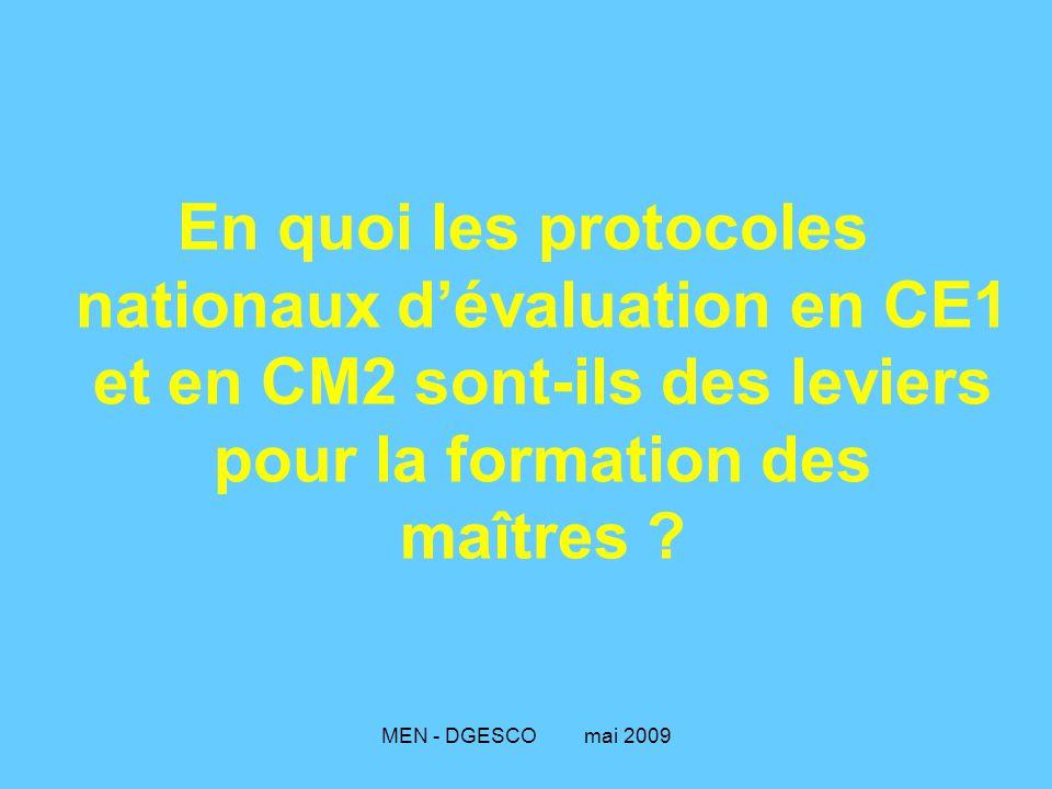 En quoi les protocoles nationaux d'évaluation en CE1 et en CM2 sont-ils des leviers pour la formation des maîtres