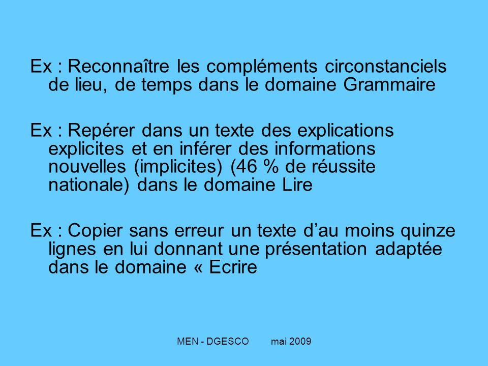 Ex : Reconnaître les compléments circonstanciels de lieu, de temps dans le domaine Grammaire