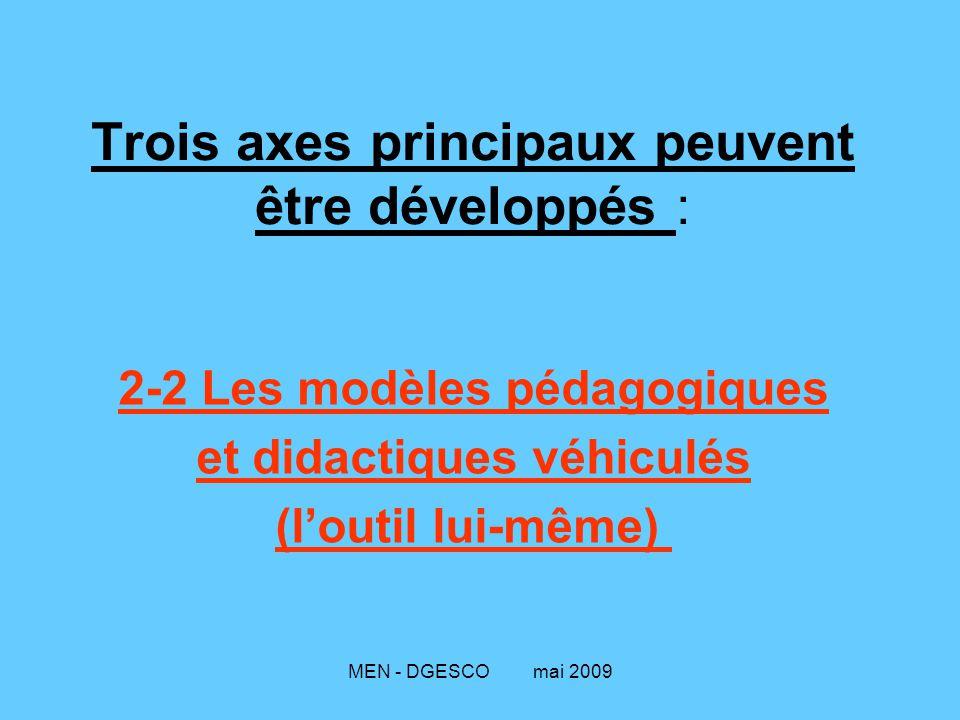 Trois axes principaux peuvent être développés :