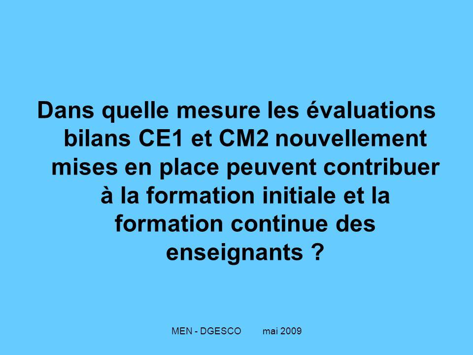 Dans quelle mesure les évaluations bilans CE1 et CM2 nouvellement mises en place peuvent contribuer à la formation initiale et la formation continue des enseignants