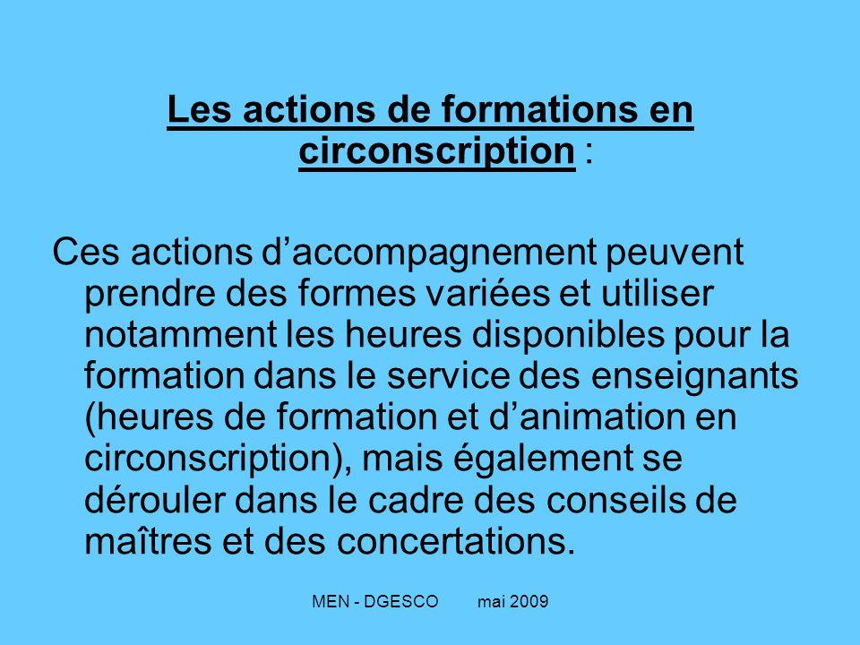 Les actions de formations en circonscription :