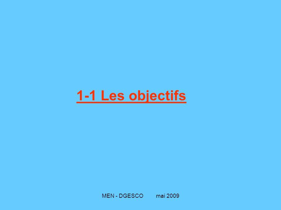 1-1 Les objectifs MEN - DGESCO mai 2009