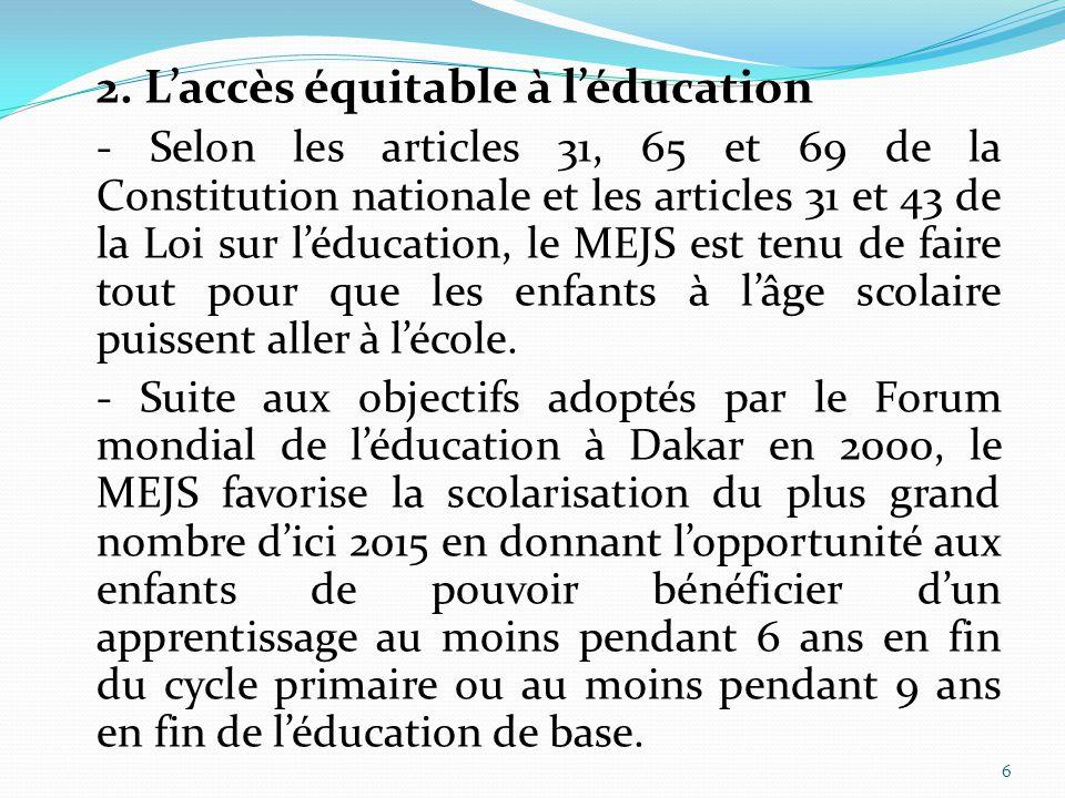 2. L'accès équitable à l'éducation