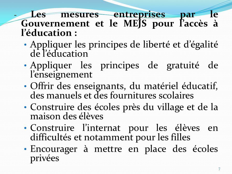 Appliquer les principes de liberté et d'égalité de l'éducation