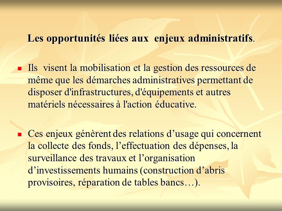 Les opportunités liées aux enjeux administratifs.