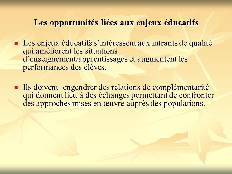 Les opportunités liées aux enjeux éducatifs