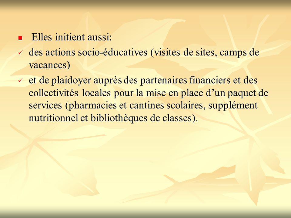 Elles initient aussi: des actions socio-éducatives (visites de sites, camps de vacances)