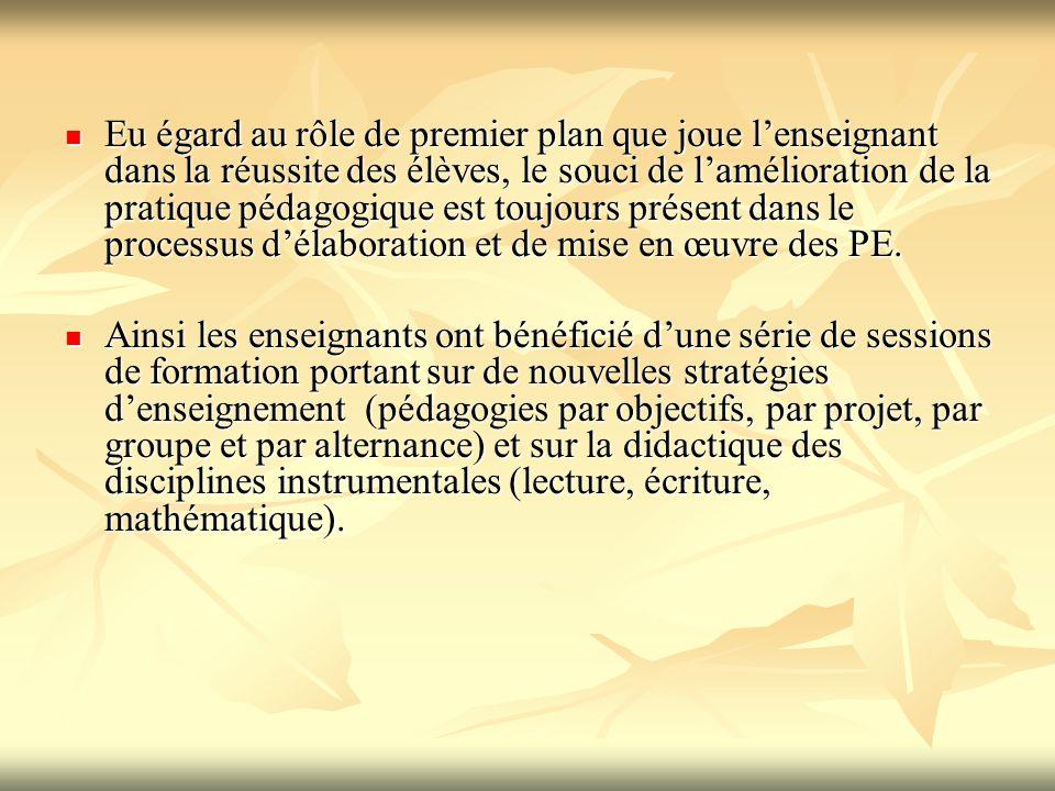 Eu égard au rôle de premier plan que joue l'enseignant dans la réussite des élèves, le souci de l'amélioration de la pratique pédagogique est toujours présent dans le processus d'élaboration et de mise en œuvre des PE.