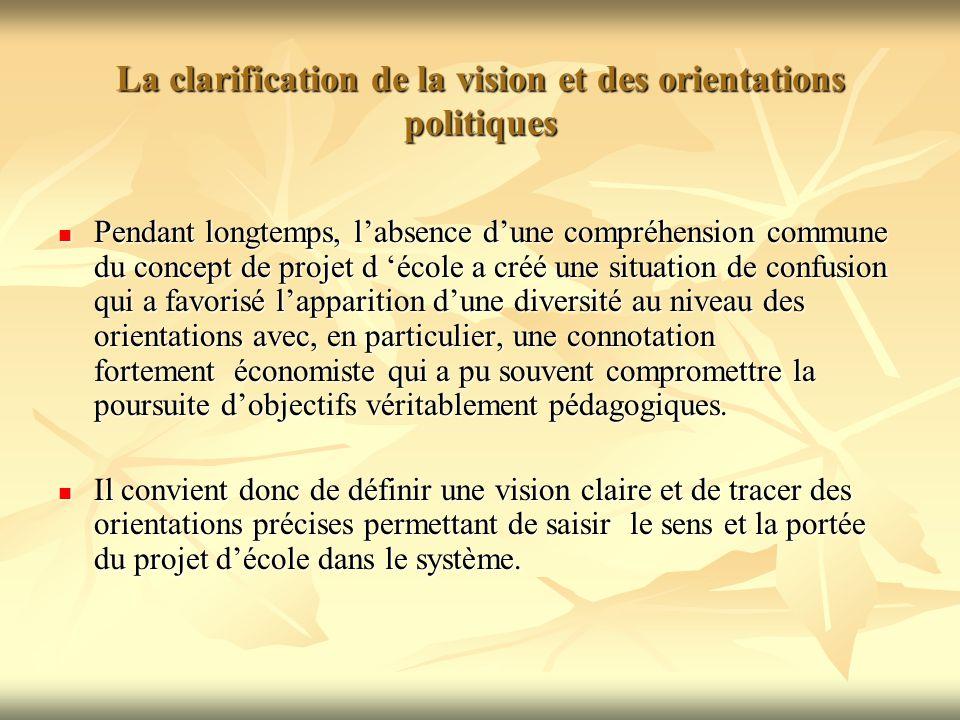 La clarification de la vision et des orientations politiques