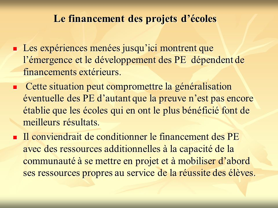Le financement des projets d'écoles