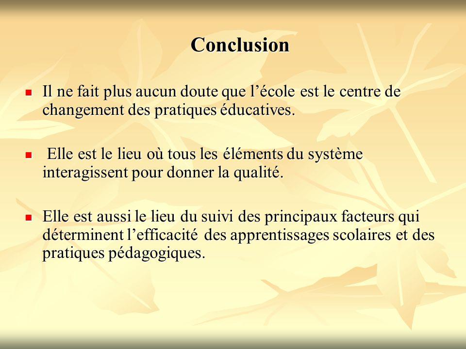 Conclusion Il ne fait plus aucun doute que l'école est le centre de changement des pratiques éducatives.