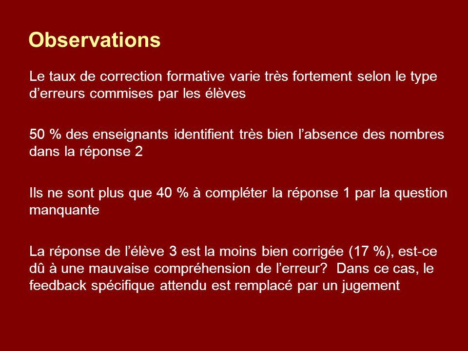 Observations Le taux de correction formative varie très fortement selon le type d'erreurs commises par les élèves.