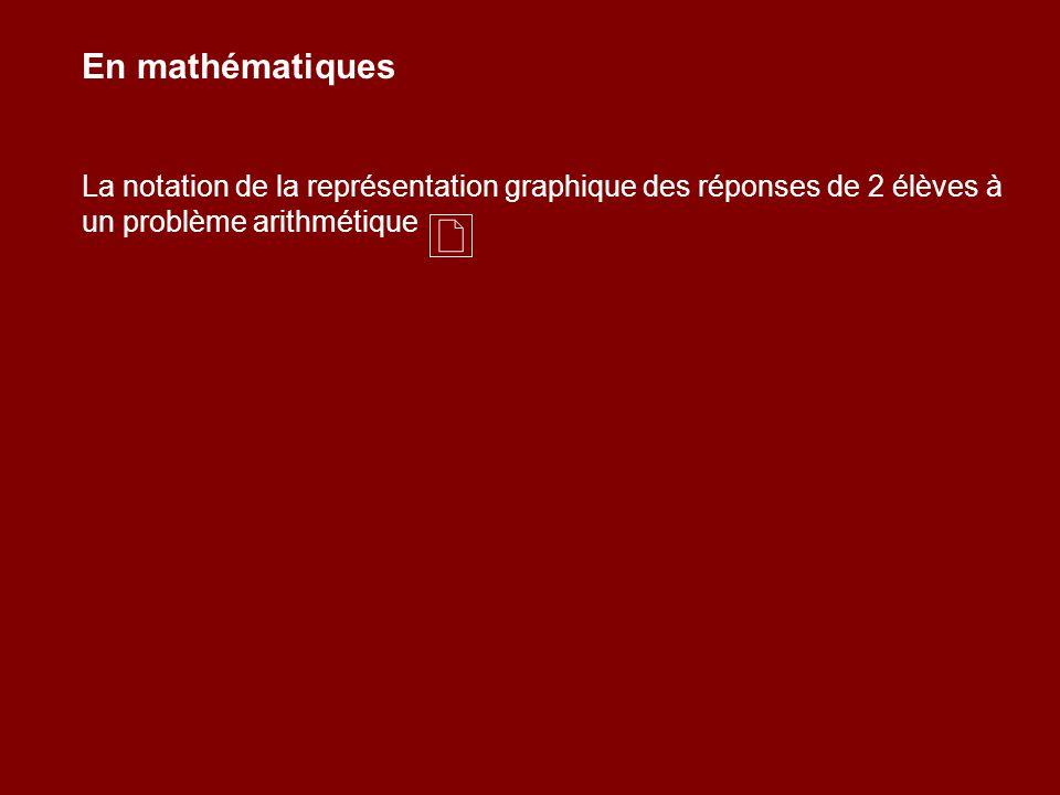 En mathématiques La notation de la représentation graphique des réponses de 2 élèves à un problème arithmétique.