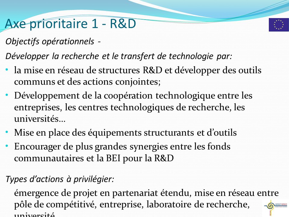 Axe prioritaire 1 - R&D Objectifs opérationnels -