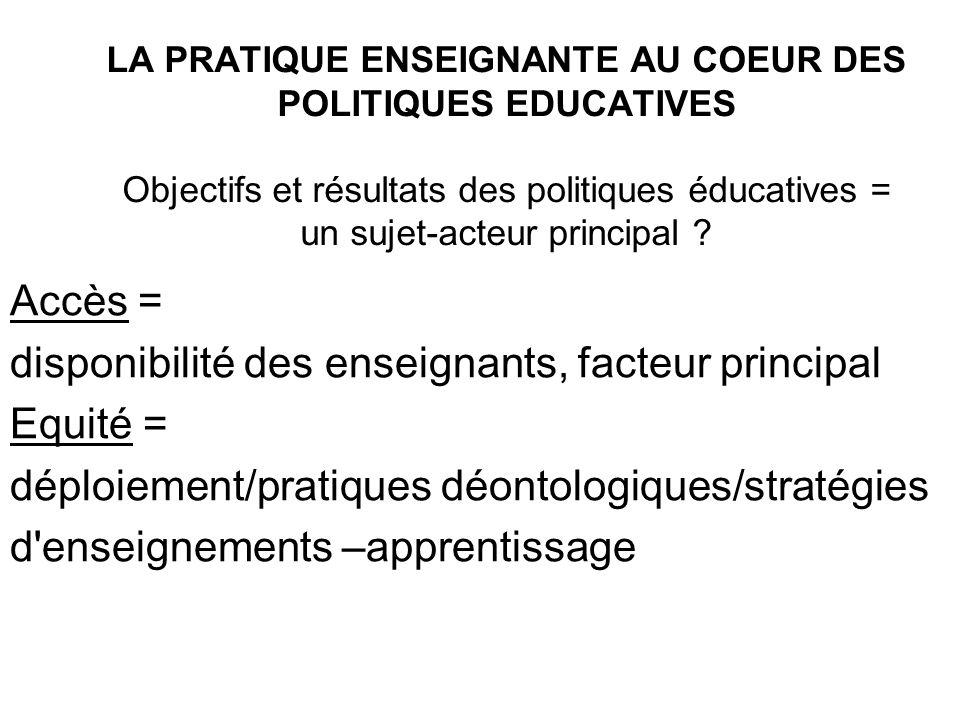 LA PRATIQUE ENSEIGNANTE AU COEUR DES POLITIQUES EDUCATIVES Objectifs et résultats des politiques éducatives = un sujet-acteur principal