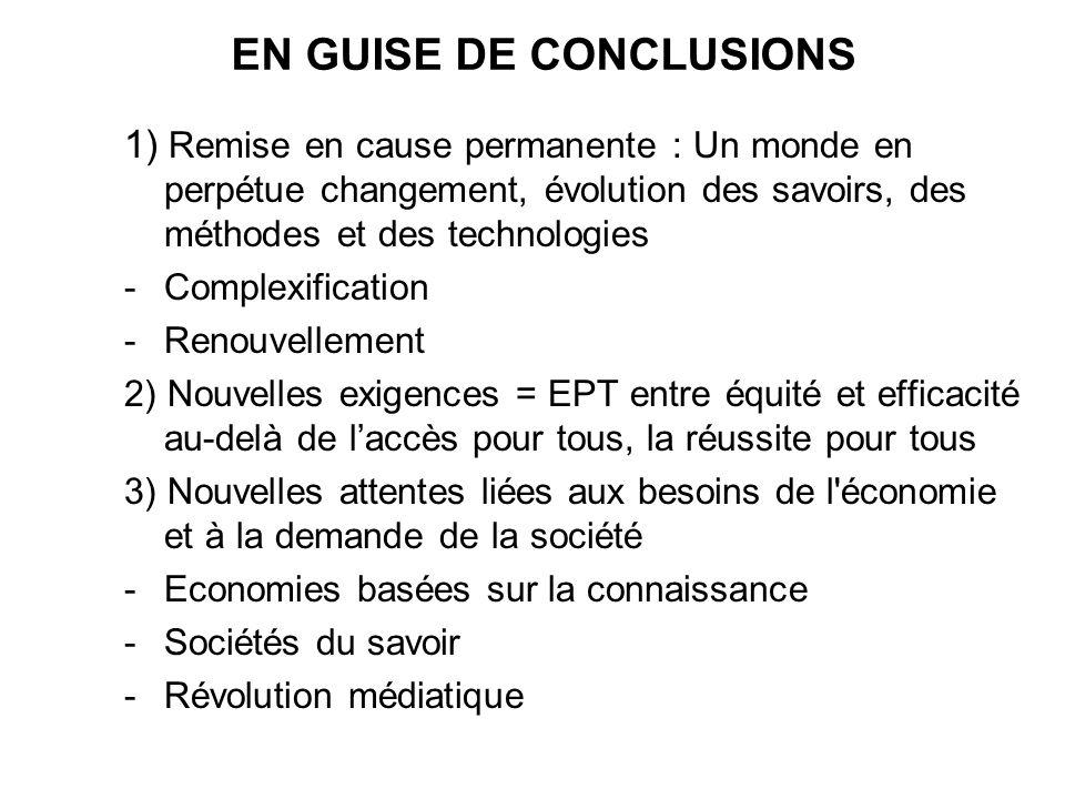 EN GUISE DE CONCLUSIONS