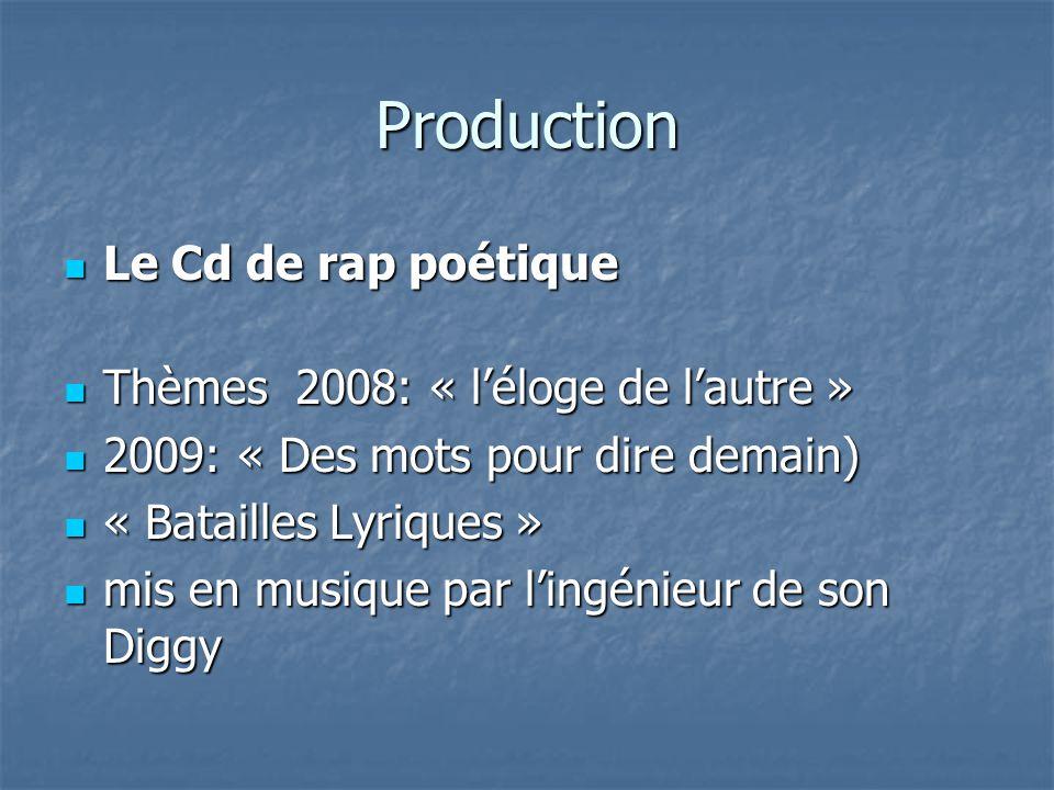 Production Le Cd de rap poétique Thèmes 2008: « l'éloge de l'autre »