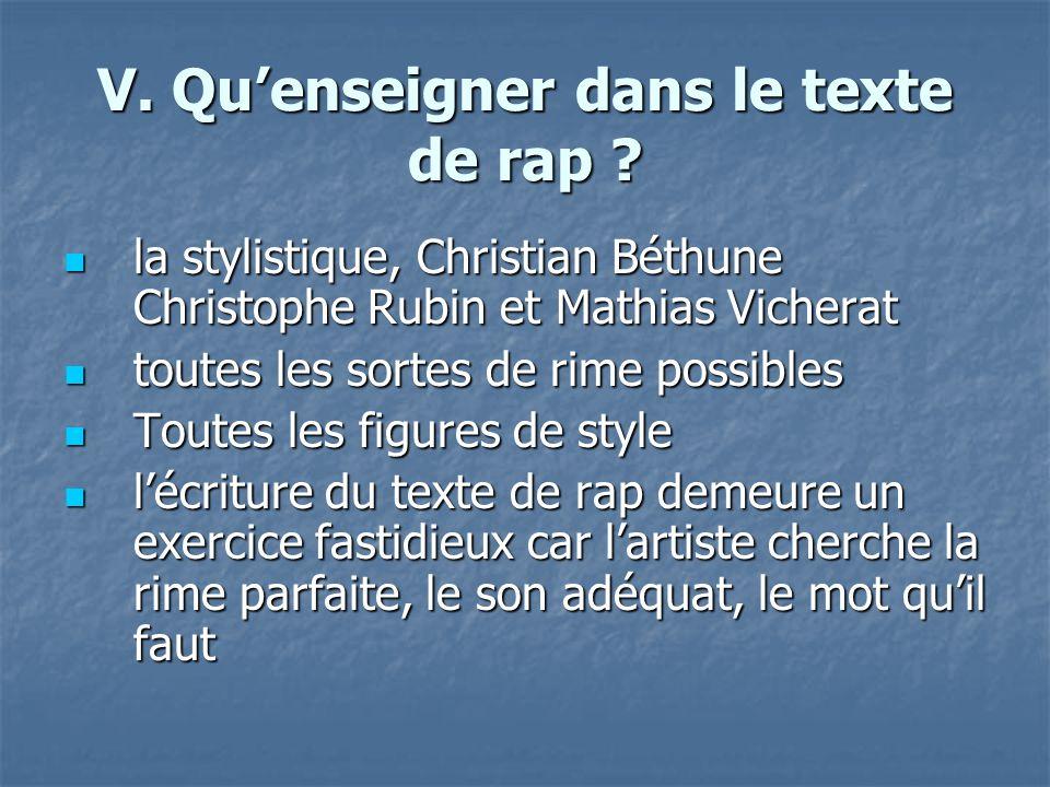 V. Qu'enseigner dans le texte de rap