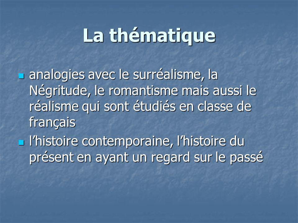La thématique analogies avec le surréalisme, la Négritude, le romantisme mais aussi le réalisme qui sont étudiés en classe de français.