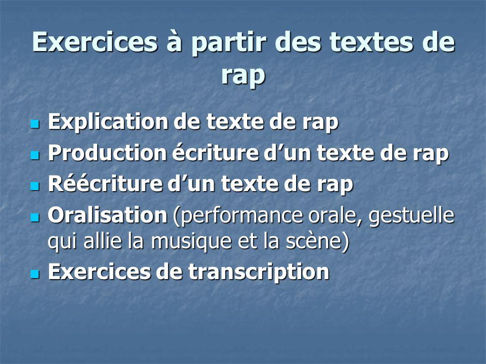 Exercices à partir des textes de rap