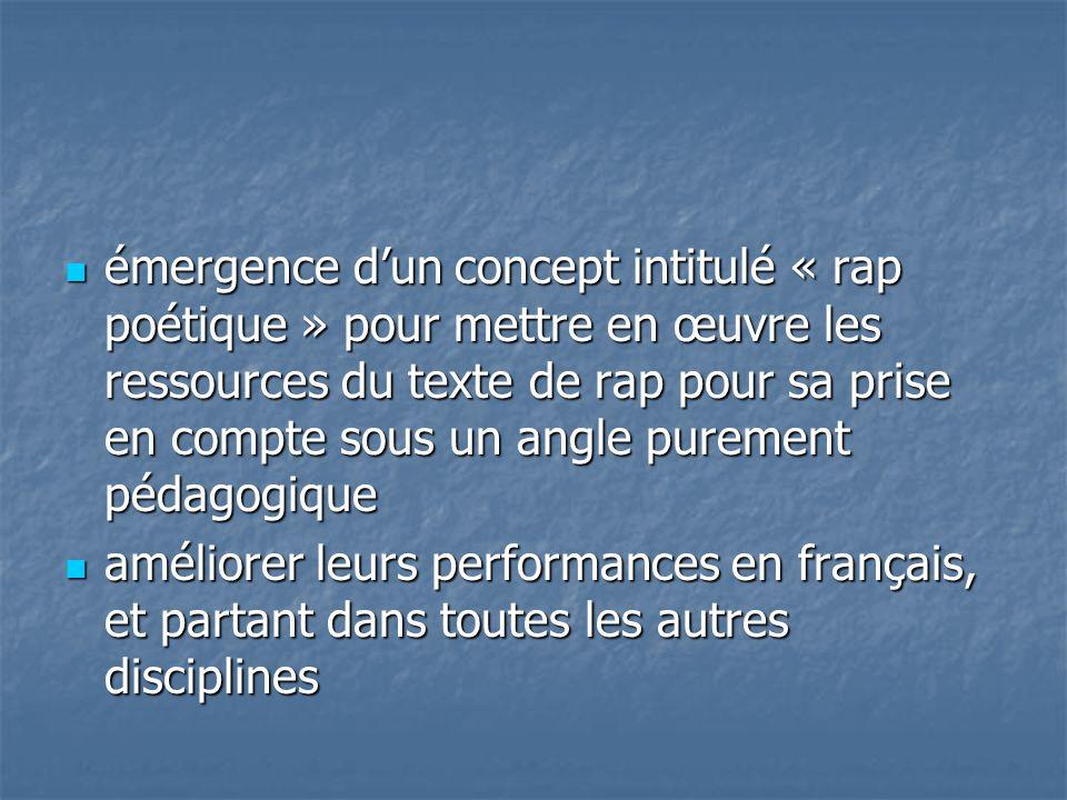 émergence d'un concept intitulé « rap poétique » pour mettre en œuvre les ressources du texte de rap pour sa prise en compte sous un angle purement pédagogique