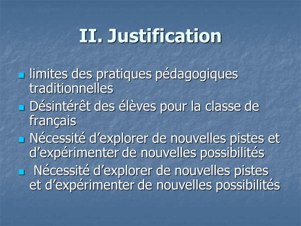 II. Justification limites des pratiques pédagogiques traditionnelles