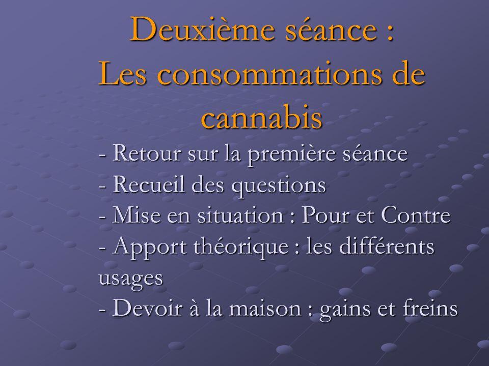Deuxième séance : Les consommations de cannabis