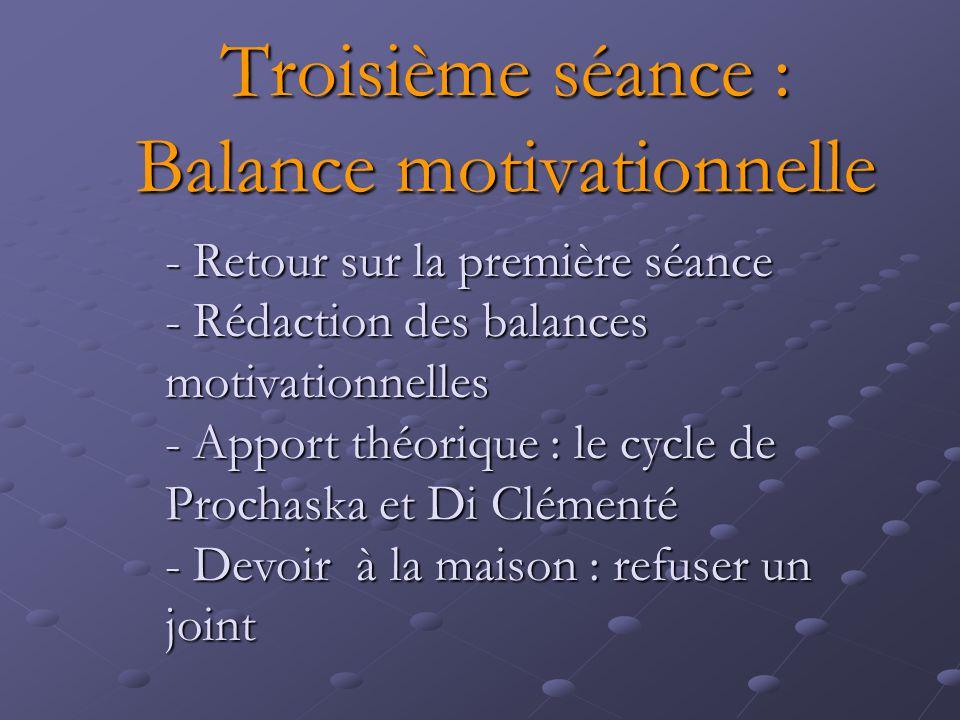 Troisième séance : Balance motivationnelle