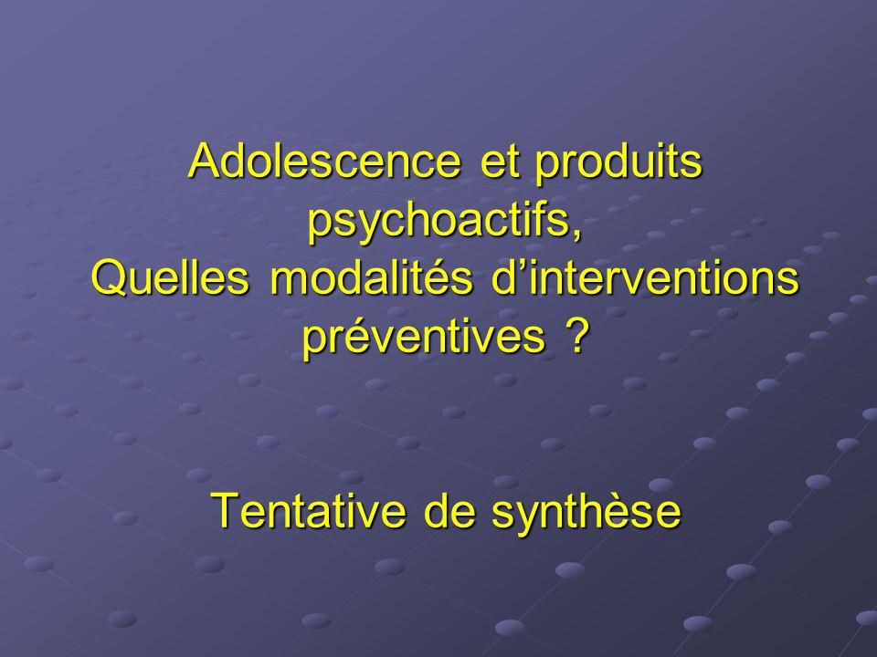 Adolescence et produits psychoactifs, Quelles modalités d'interventions préventives .