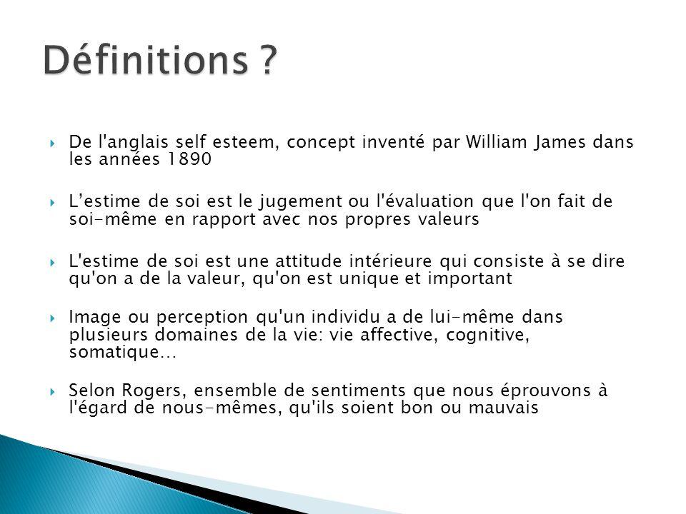 Définitions De l anglais self esteem, concept inventé par William James dans les années 1890.