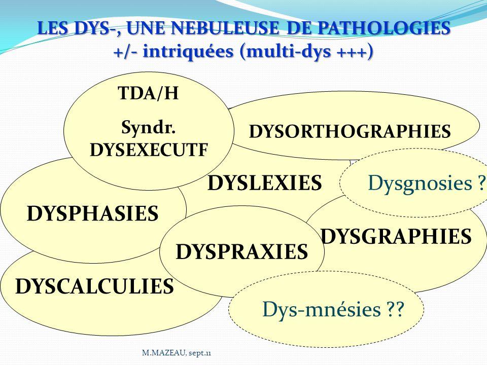 LES DYS-, UNE NEBULEUSE DE PATHOLOGIES +/- intriquées (multi-dys +++)