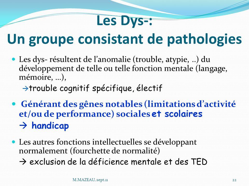 Les Dys-: Un groupe consistant de pathologies