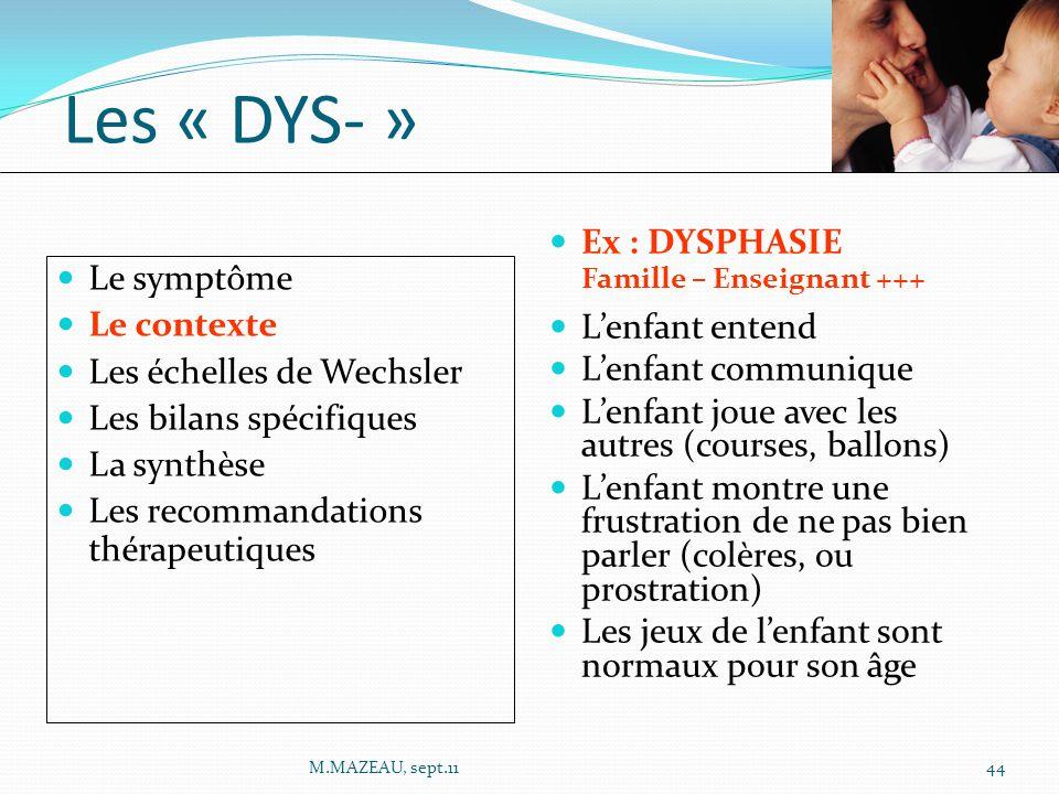 Les « DYS- » Ex : DYSPHASIE Le symptôme L'enfant entend Le contexte