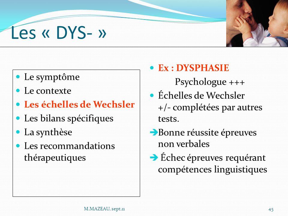 Les « DYS- » Ex : DYSPHASIE Psychologue +++ Le symptôme