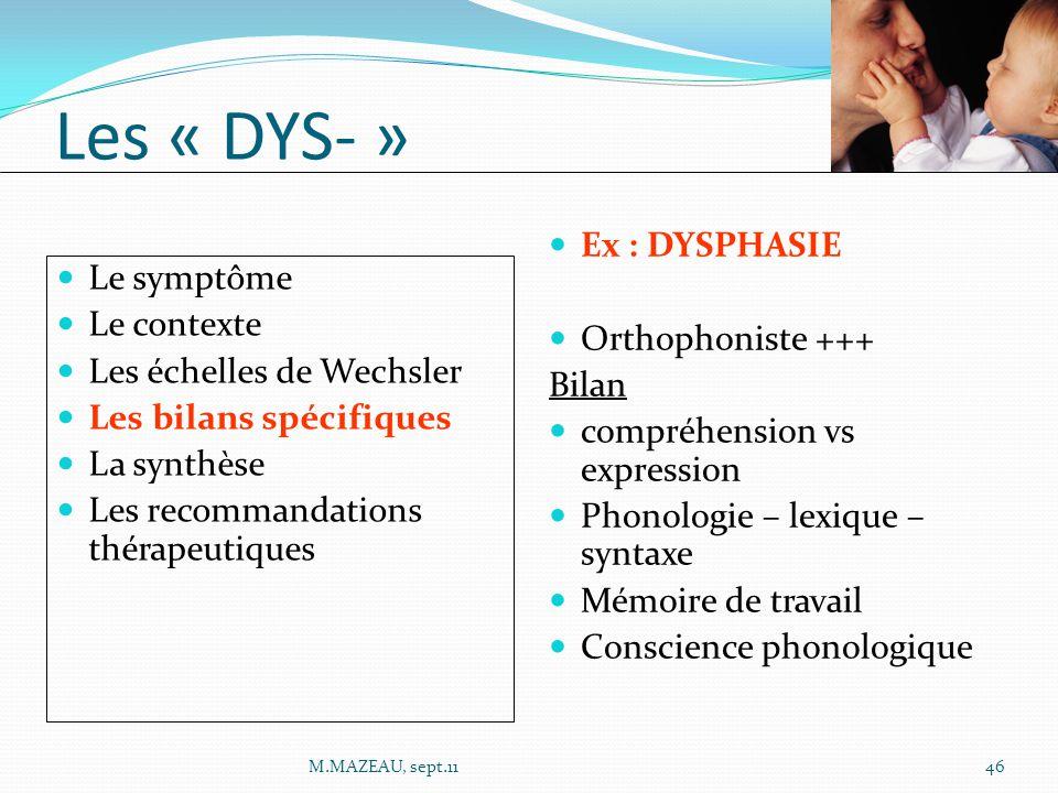 Les « DYS- » Ex : DYSPHASIE Le symptôme Orthophoniste +++ Le contexte