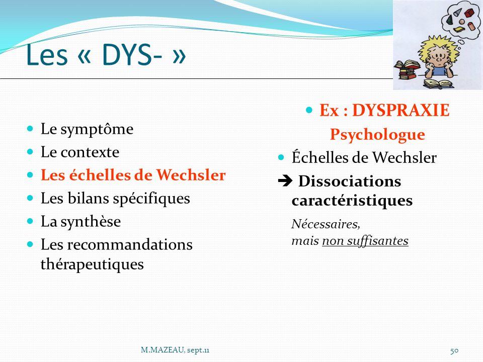 Les « DYS- » Ex : DYSPRAXIE Psychologue Le symptôme