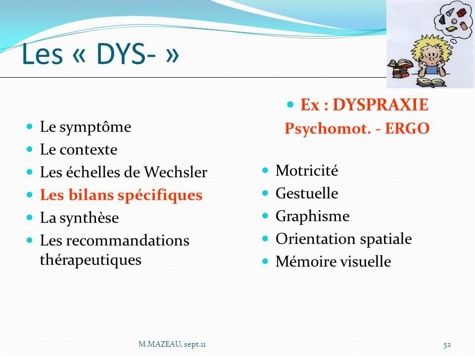 Les « DYS- » Ex : DYSPRAXIE Psychomot. - ERGO Le symptôme Le contexte