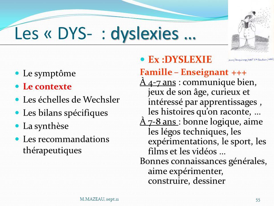 Les « DYS- : dyslexies … Ex :DYSLEXIE Famille – Enseignant +++