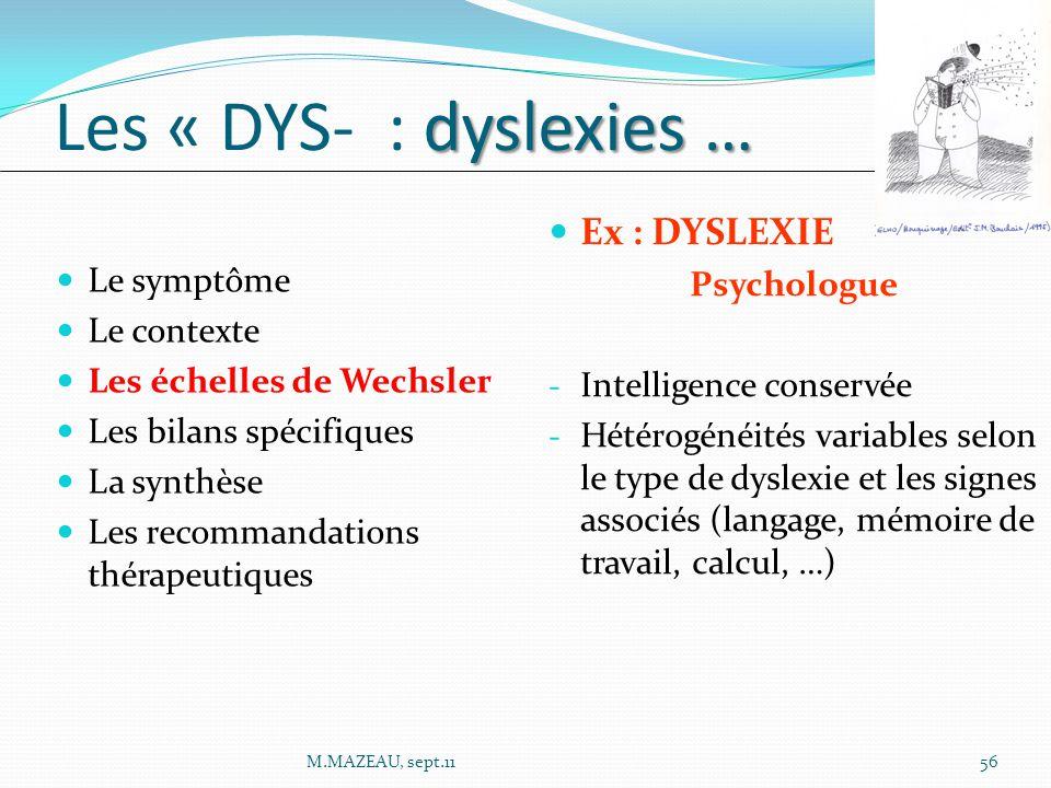 Les « DYS- : dyslexies … Ex : DYSLEXIE Psychologue Le symptôme