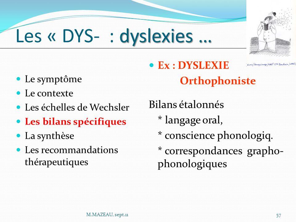 Les « DYS- : dyslexies … Ex : DYSLEXIE Orthophoniste Bilans étalonnés
