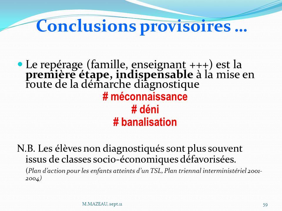 Conclusions provisoires …
