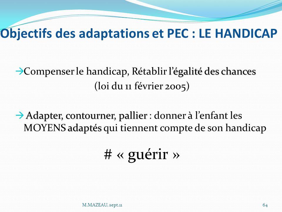 Objectifs des adaptations et PEC : LE HANDICAP