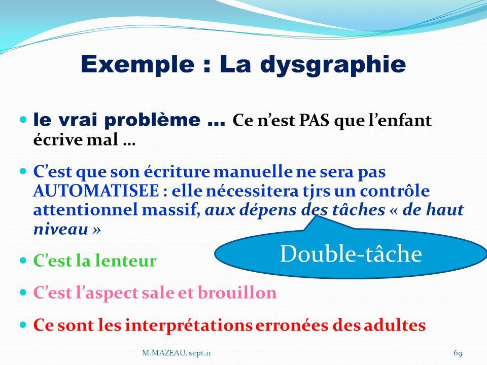 Exemple : La dysgraphie