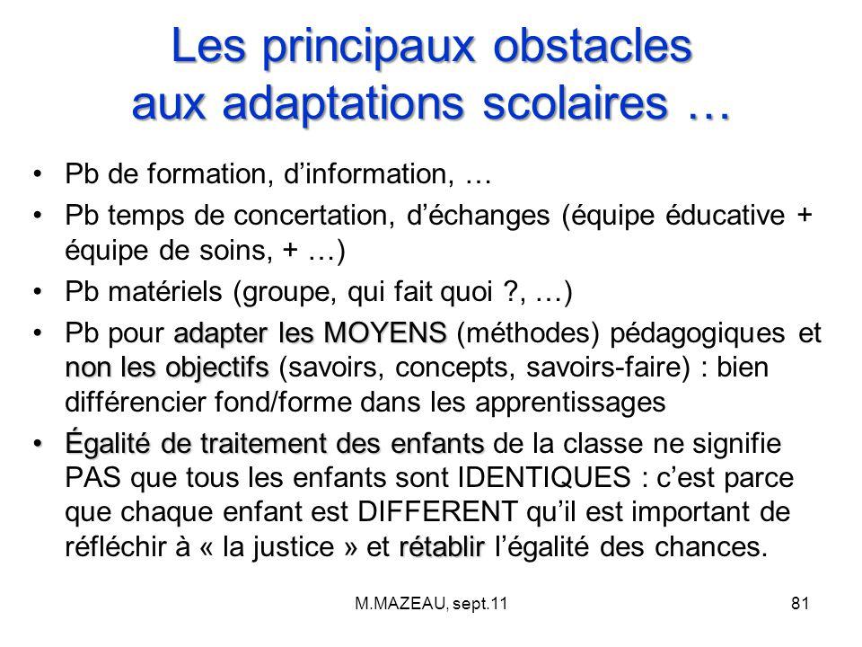 Les principaux obstacles aux adaptations scolaires …